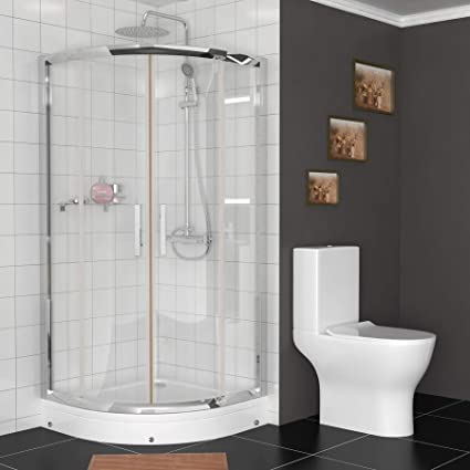 700 x 700mm Walk in 6mm Glass Double Sliding Quadrant Shower Enclosure with  High Shower Tray