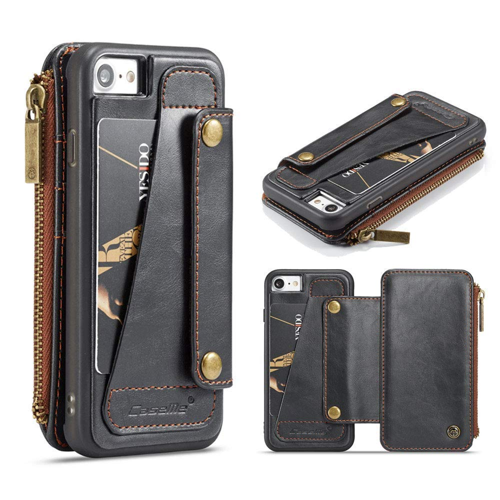 Jennyfly iPhone Xs Phone Case, Multifunction PU Leather Zipper Full Body Protection Wallet Cover Separate Retro Business Phone Case with Card Slots & Money Pocket for 5.8 inch iPhone X/XS- Black