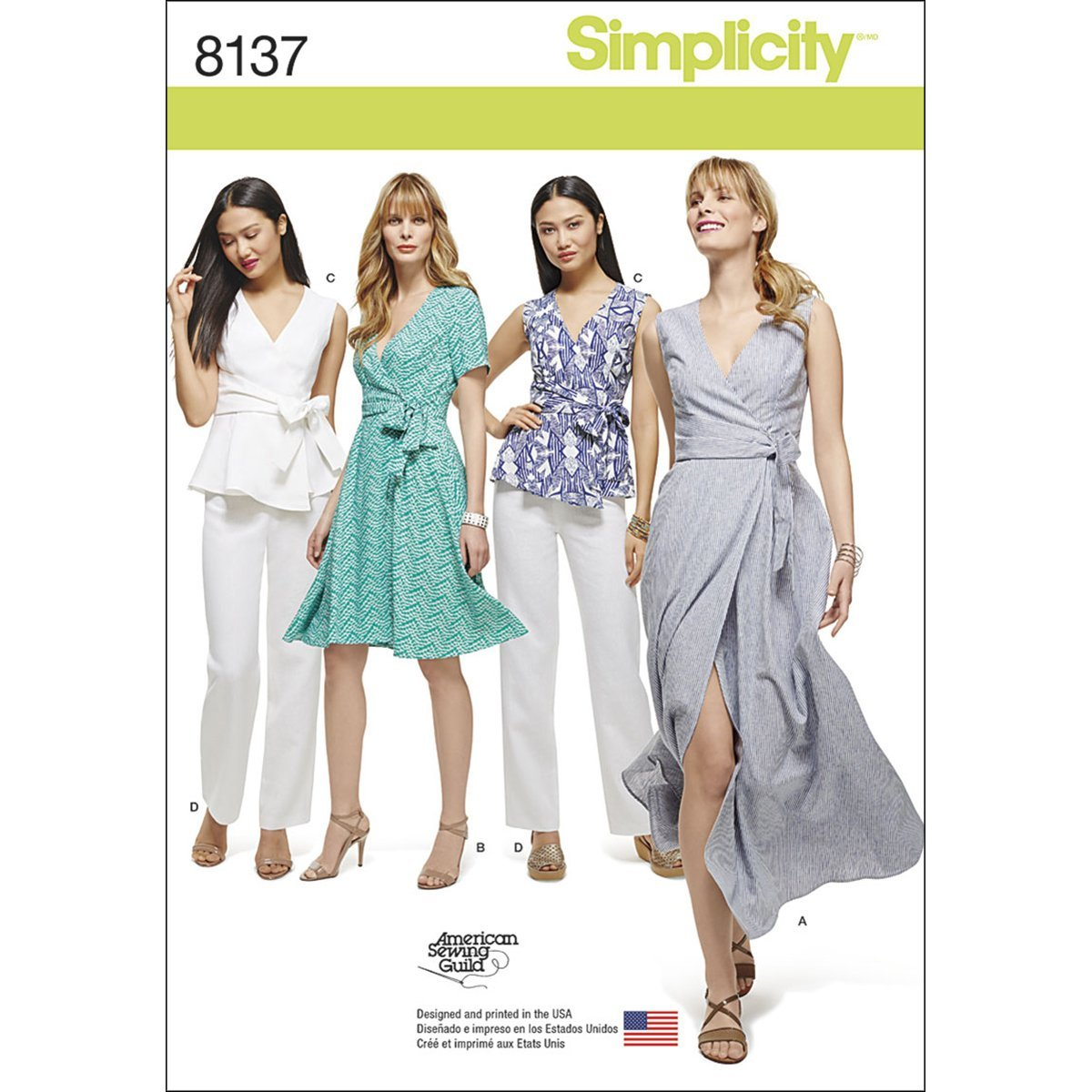 Simplicity 8137 Women\'s Wrap Dress, Top, and Pants Sewing Patterns, sizes  20W-28W