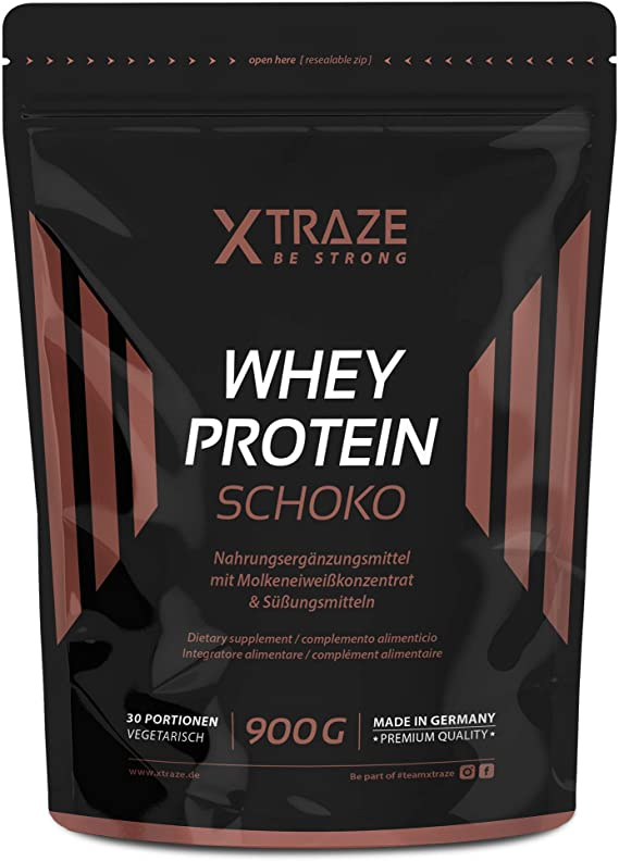 XTRAZE® Whey Proteína en Pura Polvo de Suero para Batido de Proteinas, 900g de Proteina Vegetal + Aislada con BCAA, Suplemento sin Aditivos, Para ...