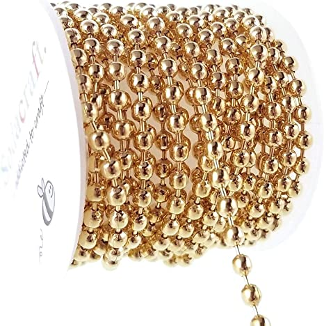 10mters stainless steel gold filled ball beaded necklace chains for jewelry Make