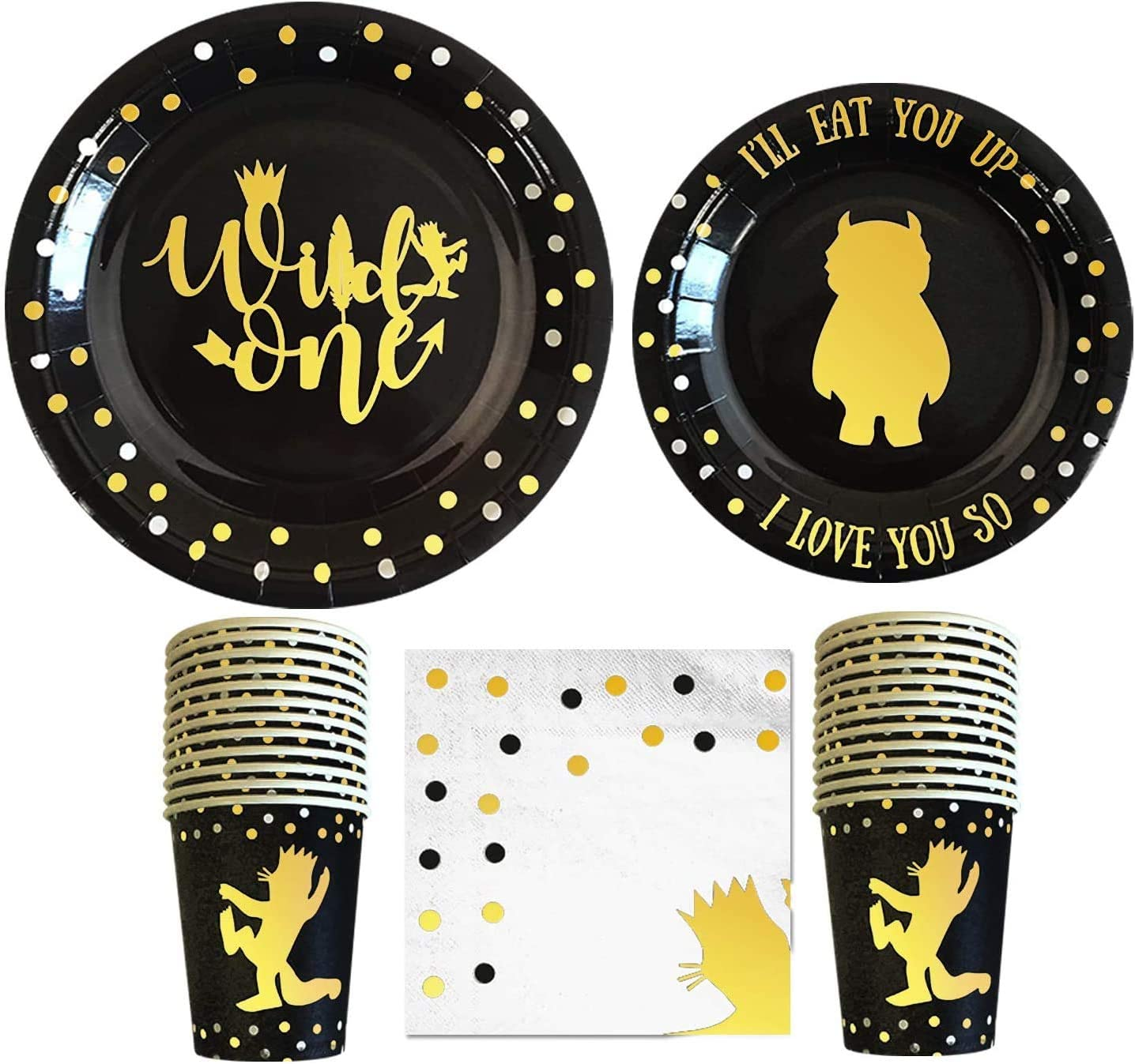 Wild One Birthday Decorations I 96 Pieces - 3 in 1 Wild One Party Supplies I Party Plates I Wildone Napkins I Disposable Cups/Glass I First Birthday Decoration Tableware Supplies