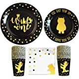 Wild One Birthday Decorations I 96 Pieces - 4 in 1 Wild One Party Supplies I Party Plates I Wildone Napkins I Disposable…