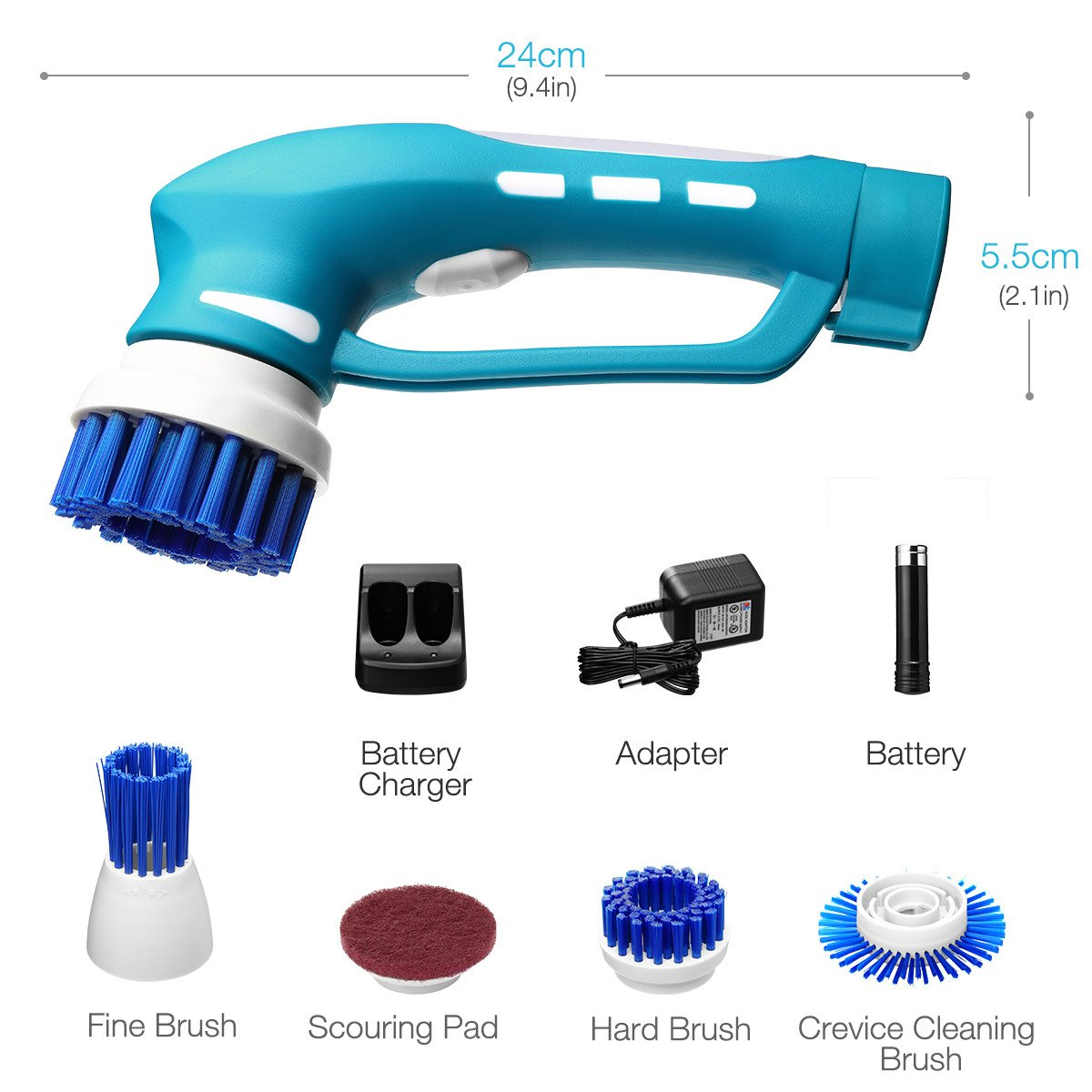 Housmile Electric Spin Scrubber, Floor Scrubber Cordless Tub and Tile Scrubber with 3 Replaceable Cleaning Scrubber Brush Heads 1 Scouring Pad, for Bathroom, Floor, Wall and Kitchen by Housmile (Image #4)
