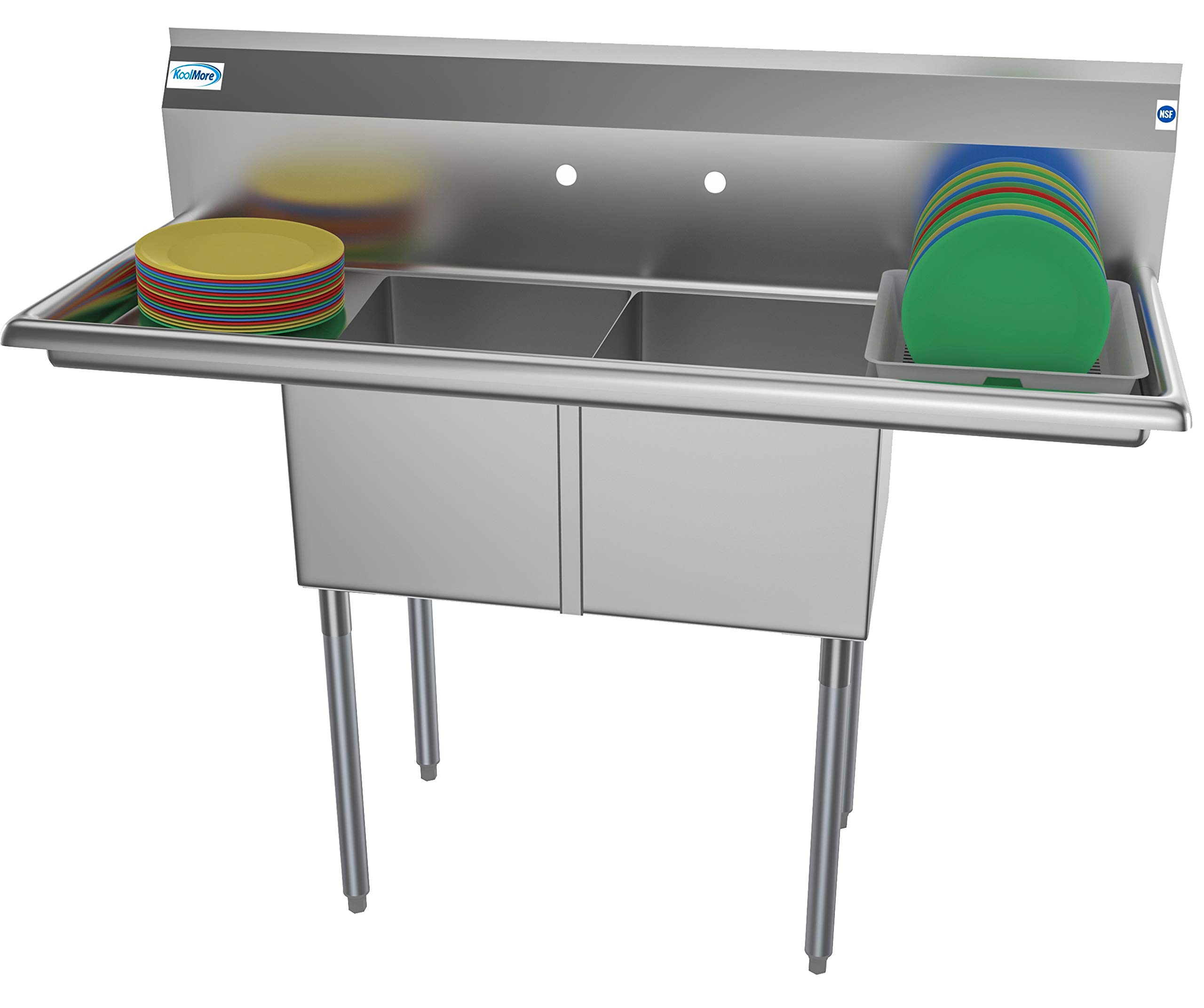 KoolMore 2 Compartment Stainless Steel NSF Commercial Kitchen Prep & Utility Sink with 2 Drainboards - Bowl Size 14'' x 16'' x 11'', Silver