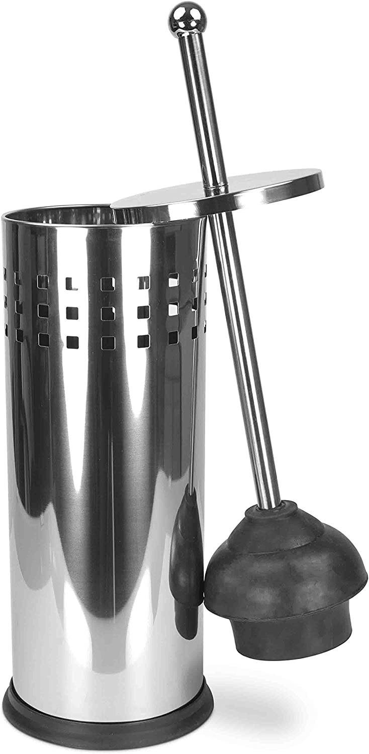 Home Basics Stainless Steel Vented Toilet Plunger with Canister Holder Drip Cup