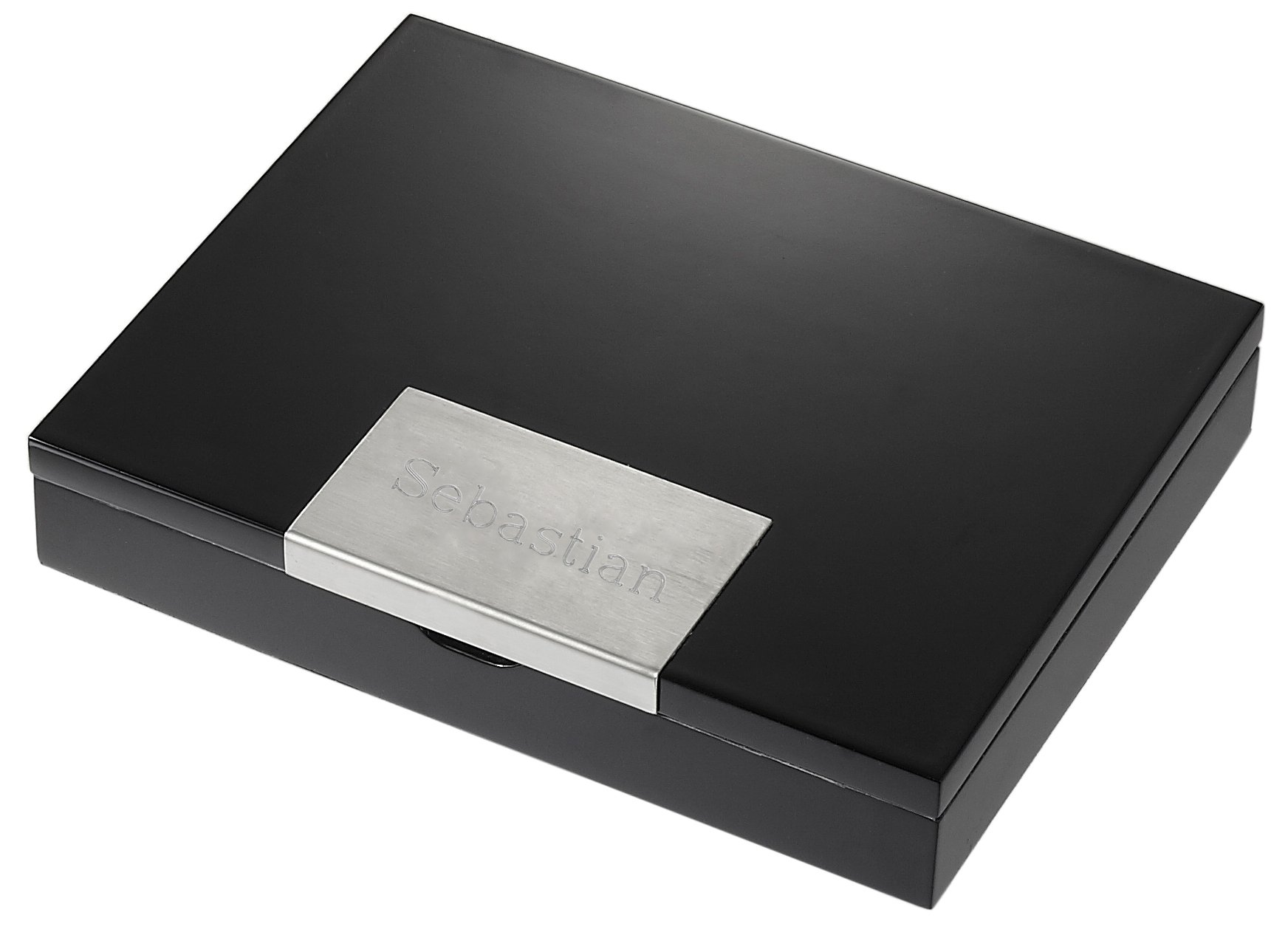 Personalized Visol Glossy Black Wood Travel Cigar Humidor with Free Engraving by Visol (Image #1)