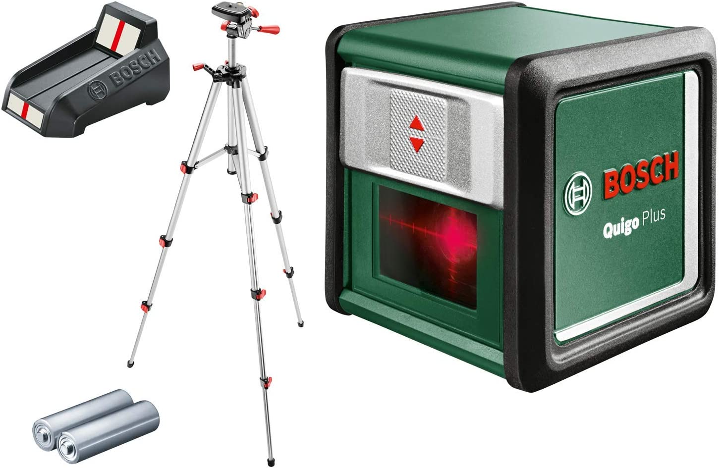 Bosch Quigo 3 Plus - Nivel láser en cruz, autonivelante, alcance: 7 m, precisión: ± 0,8 mm/m (2 pilas AAA y trípode, caja de cartón)