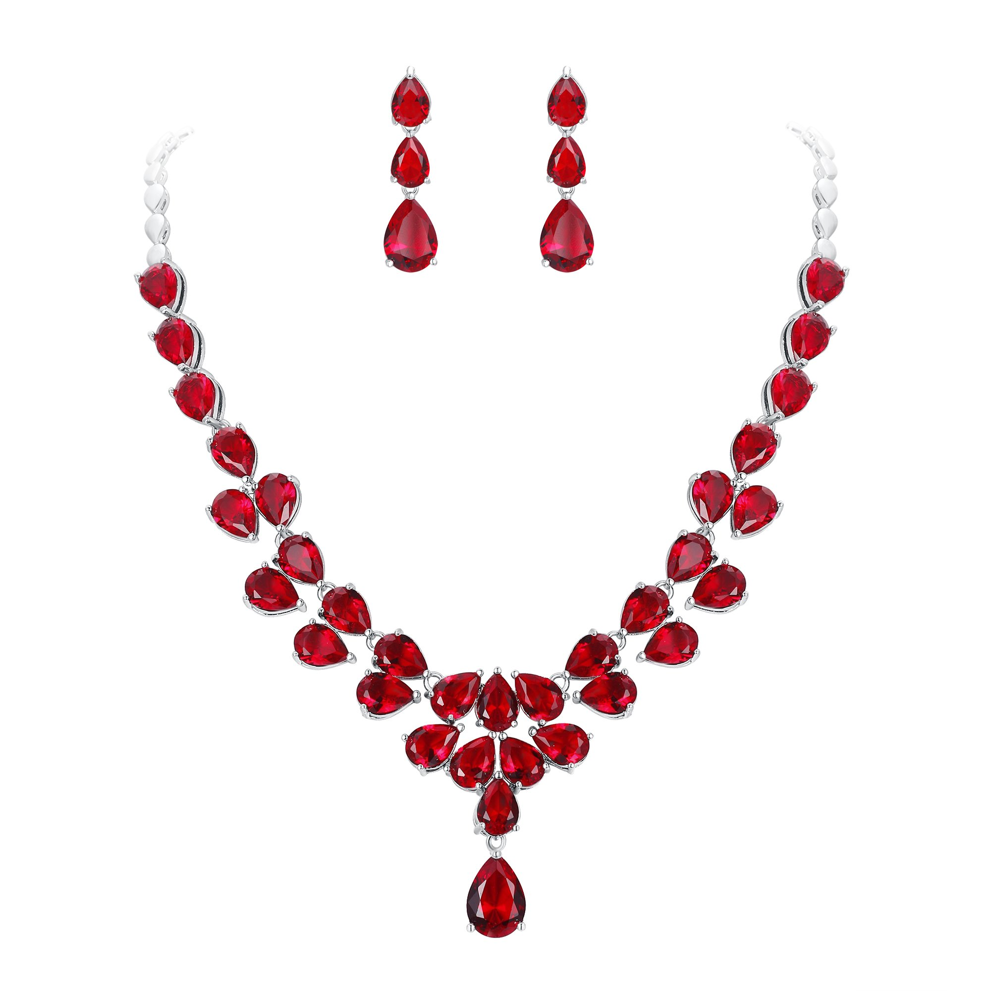 EleQueen Women's Wedding Bridal Jewerly Sets CZ Teardrop Dangle Earrings Statement Necklace Costume Jewerly For Women Rubis