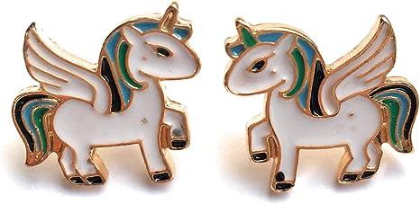 Fizzybutton Regalos Oro Tono Esmalte Unicornio Aretes en Caja De Regalo