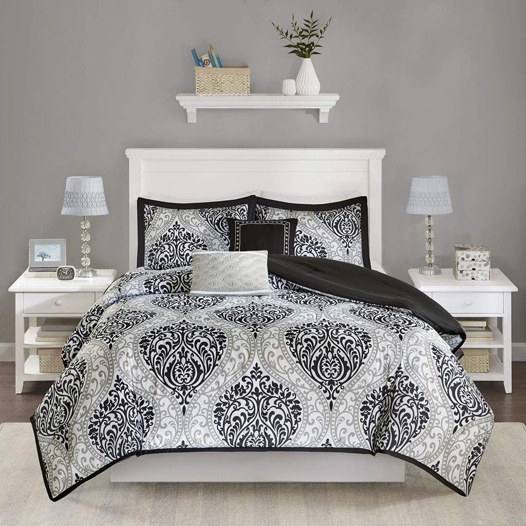 Intelligent Design Senna Comforter Set King/Cal King Size - Black/Gray, Damask – 5 Piece Bed Sets – Ultra Soft Microfiber - All Season Comforter Set Bedding