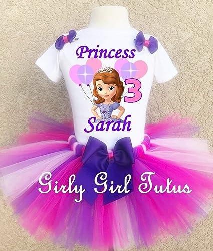 ce9b4fa49 Amazon.com: Princess Sofia the first Girls Birthday Outfit tutu Set:  Handmade