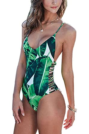 c53d641f3a1 Women Bodysuit Bathing Suit Vintage Beach Wear Print Bandage Monokini,Green,  M(US
