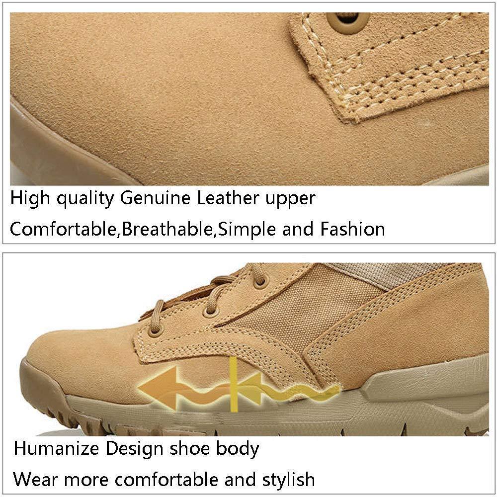 GZZ Schuhe Herren Martin Stiefel Stiefel Stiefel Herbst Und Winter Retro Outdoor Atmungsaktiv Desert Leather Stiefel Rutschfeste,Khaki-42 a0c08e