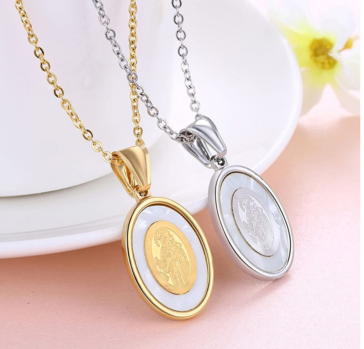 Amazon.com: AMDXD Jewelry Stainless Steel Pendant Necklaces for Women Virgin Mary Oval Gold Pendant: Jewelry