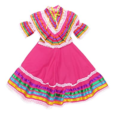 9fb0c961445 Amazon.com  Mexican Clothing Co Little Girls Mexican Jalisco Dress (Blouse  and Skirt) Poplin  Clothing