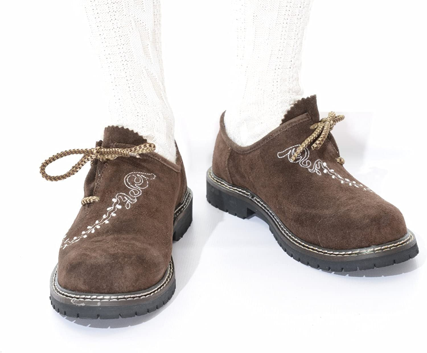 Lederhosen Shoes, Haferl Shoes, Trachten Shoes in dark brown wembroidery