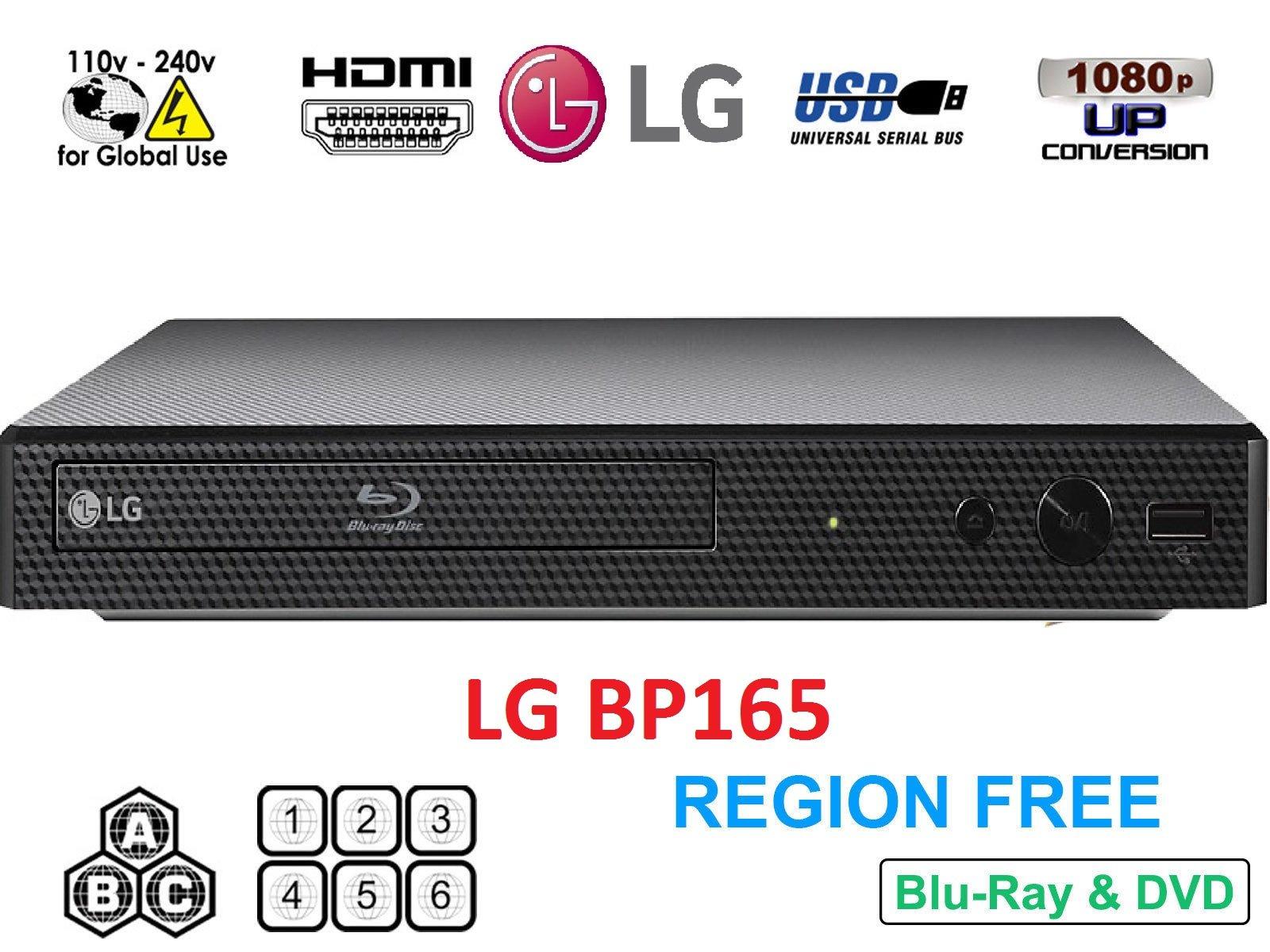 LG BP165 Region Free Blu-ray Player, Multi region 110-240 volts, 6FT HDMI cable & Dynastar Plug adapter bundle Package
