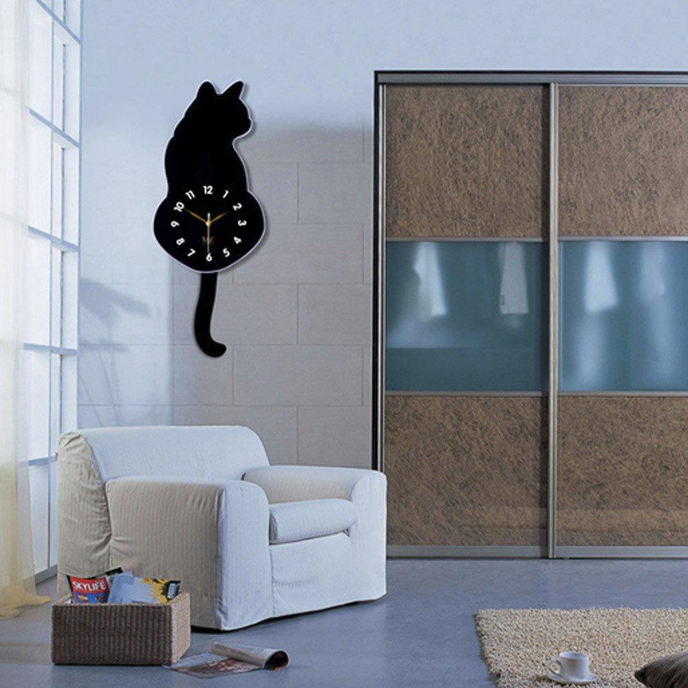 Huangou - Reloj de Pared con diseño de Gato: Amazon.es: Hogar