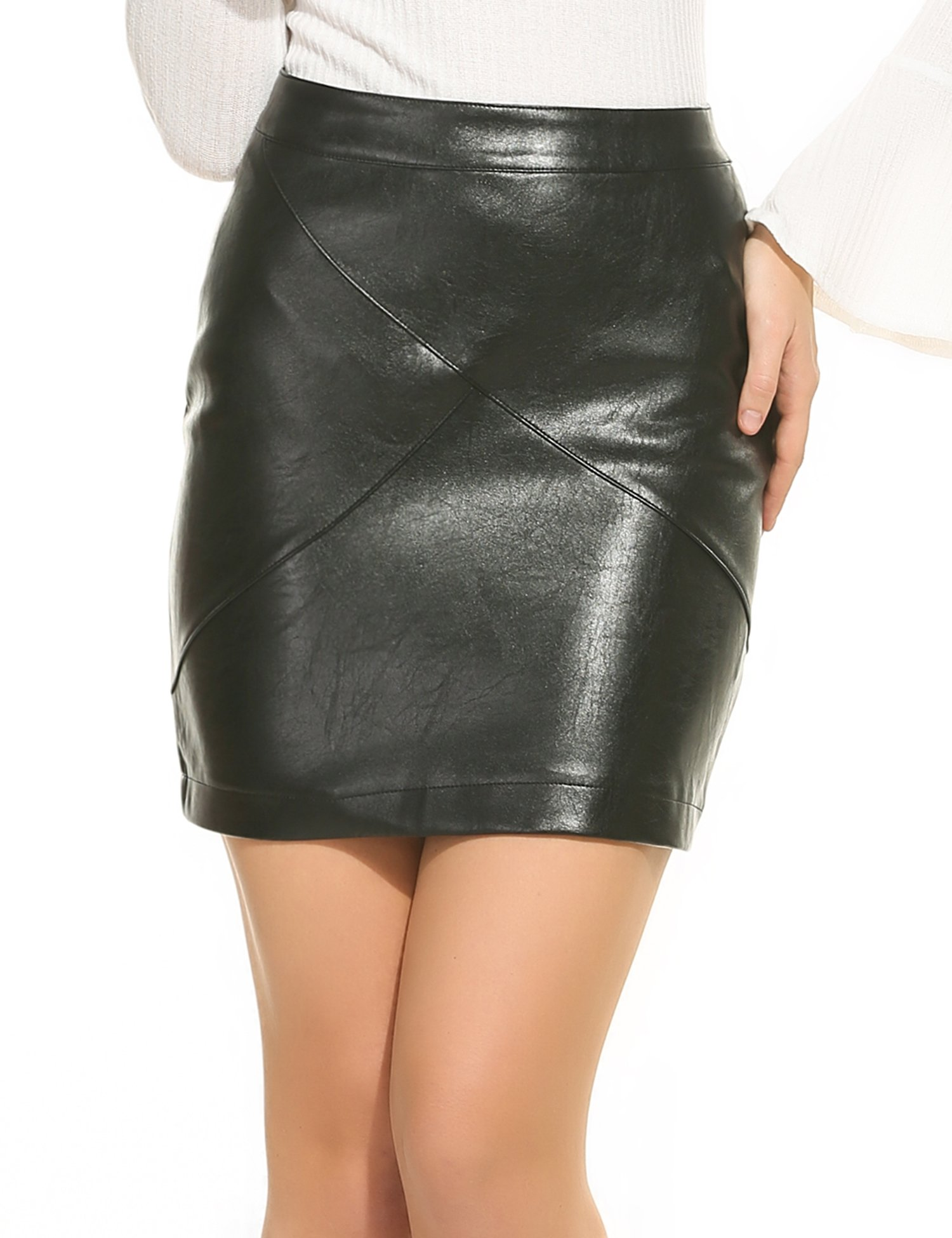 Zeagoo Women Basic Versatile Faux Leather Bodycon High Waisted Pencil Skirt, Black, Small