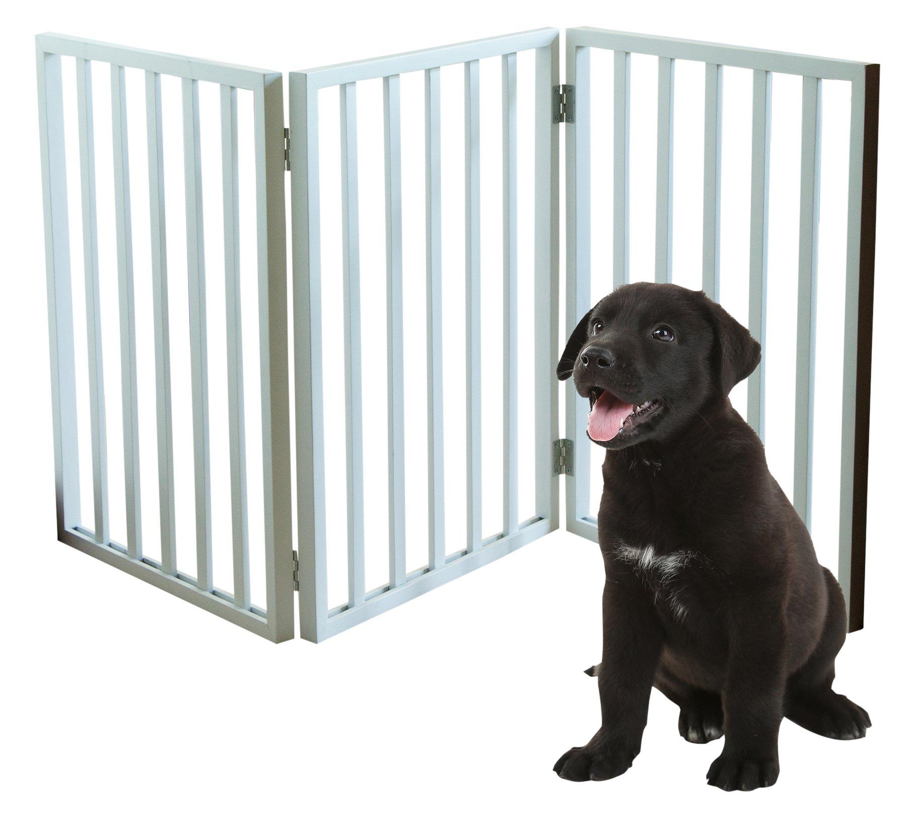 PETMAKER Freestanding Wooden Pet Gate Mahogany White