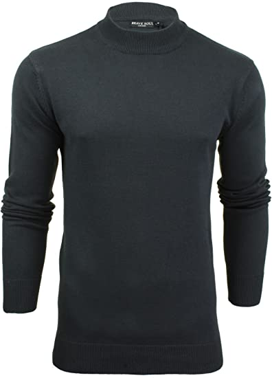 Brave Soul Mens Light Knit Turtle Neck Pull Over Knitted Funnel Sweater
