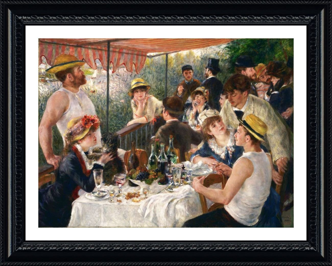 Alonline Art - Luncheon Of The Boating Party by Auguste Renoir | Black framed picture printed on 100% cotton canvas, attached to the foam board | Ready to hang frame | 31x25 | Wall art home decor Alonline Art Studio