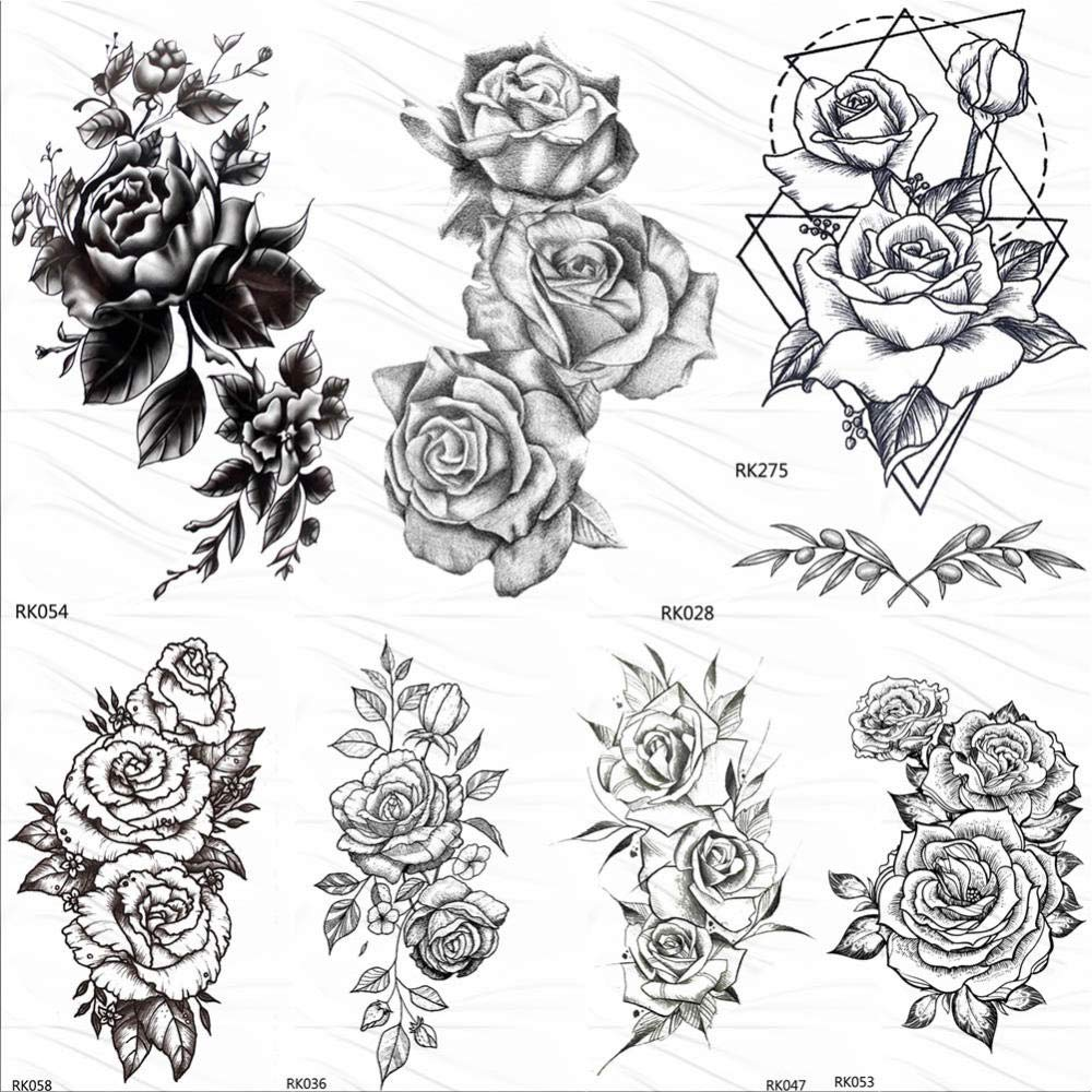 Tatuaje Falso Tatuaje Hot 3D Negro Flor Rosa Tatuajes Temporales ...