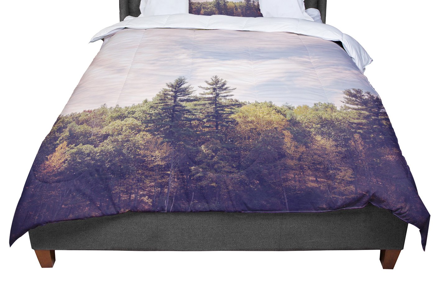 KESS InHouse Jillian Audrey 'Walden Woods' Green White King / Cal King Comforter, 104' X 88'