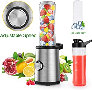 Slaouwo Personal Blender, Mini Single Serve Blender with 300W Base, 4 Stainless Blades, 20 Oz BPA-Free Portable Sports Blender Cup for Juice, Smoothies, Shakes and More