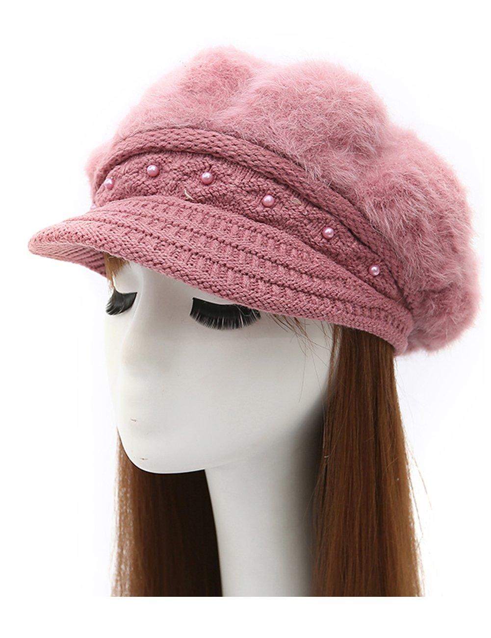 Epsion Women Winter Knit Crochet Newsboy Caps Lady Warm Pearl Knit Beanie Hat