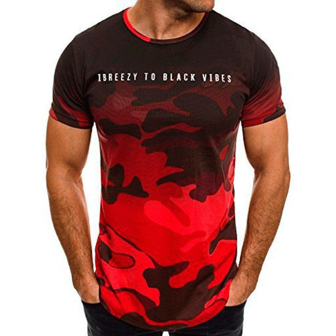 VITryst-Men Plus Size O-Neck Short-Sleeve Camouflage T-Shirt Top