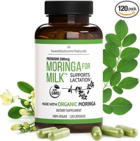 Lactation Supplement - Organic Moringa Capsules (120 ct) for Breastfeeding Support to Increase Breastmilk Supply - Pure Malunggay Leaf Powder for Milk Production Booster & Postnatal Vitamins A K 500mg