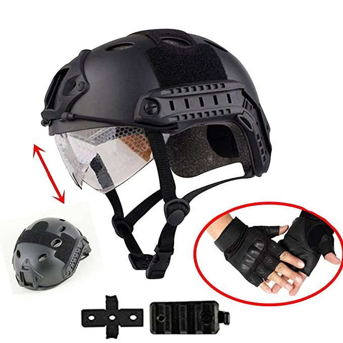 iMeshbean Airsoft Swat Helmet Combat Fast Helmet with w/Protective Goggles and Wing-Loc Adapter as Gift,Low Version Half Mask