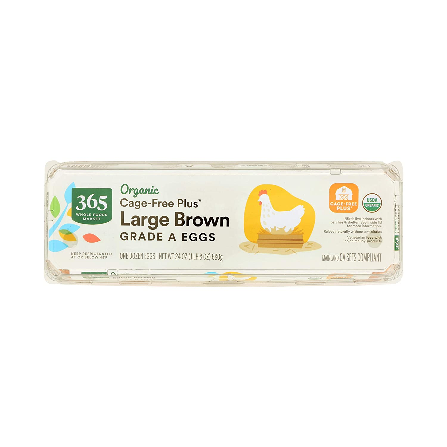 365 by Whole Foods Market, Eggs Brown Organic Large Grade A, 12 Count
