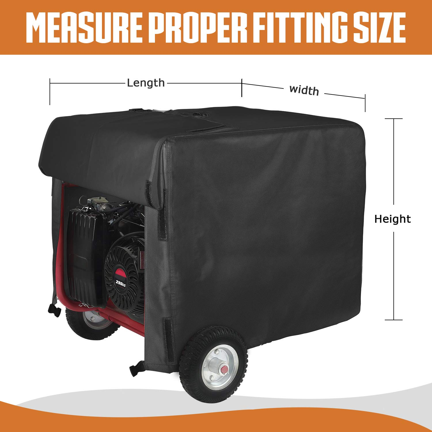 Leader Accessories Durable Universal Waterproof Generator Cover (31'' Lx 29'' Wx 28'' H, Black) by Leader Accessories (Image #2)