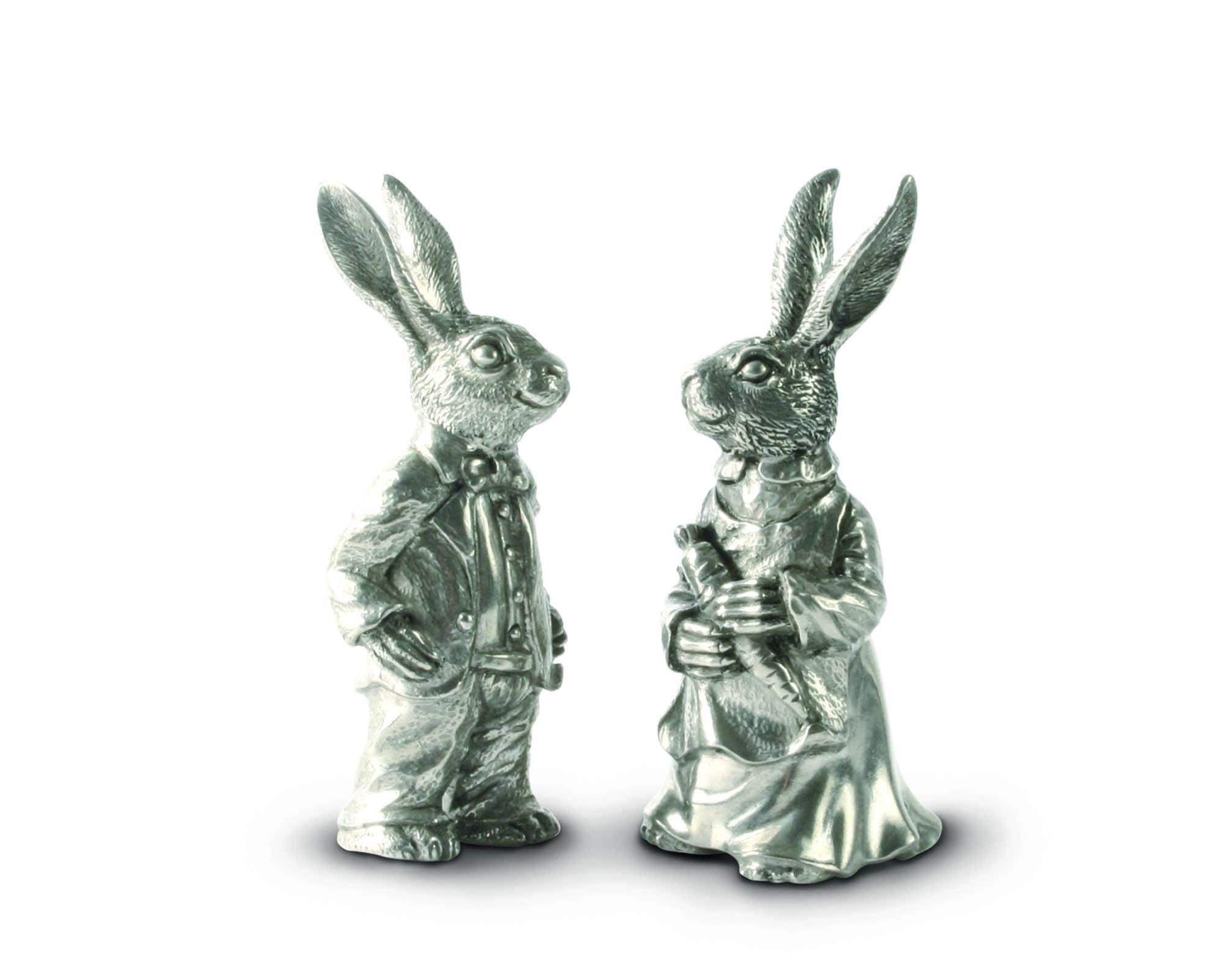 Vagabond House Pewter Metal Cute Dressed Rabbits Bunnies Salt and Pepper Shakers Set - 4'' Tall
