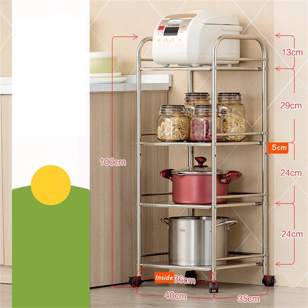 Unidad de estantería de 4 estantes | Heavy Duty Stainless Steel Kitchen Supplies Almacenamiento Rack Horno de microondas rack | Supreme Standing estantería de estantería de alambre | Estante de los ar
