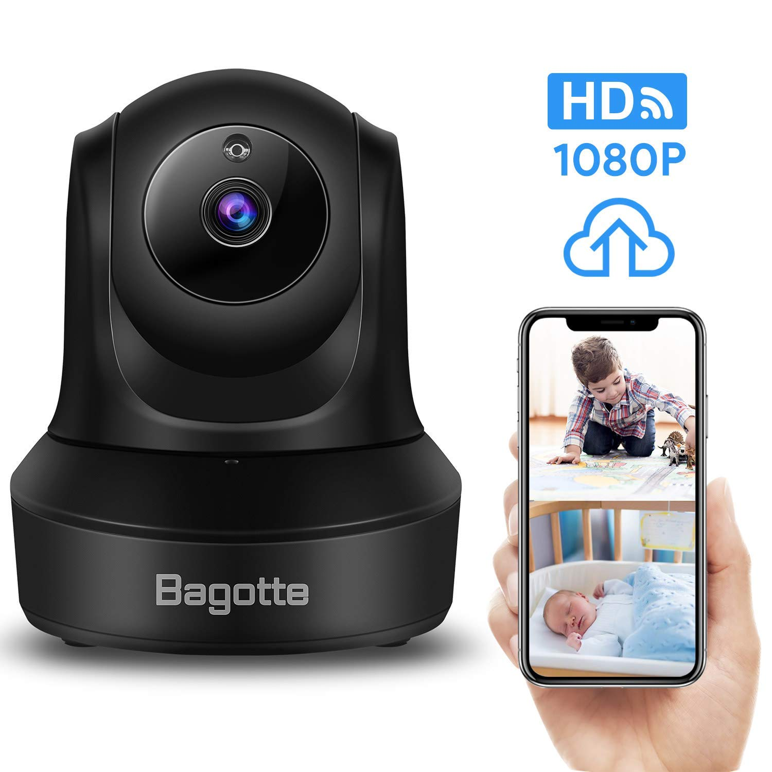 Bagotte Full HD 1080P WiFi Home Security Camera, Wireless IP Indoor Surveillance System Pan/Tilt/Zoom Audio Camera, Night Vision, Motion Detection, Remote Baby Monitor iOS - Cloud Storage by Bagotte