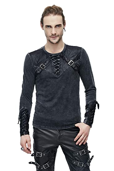 97129cf723b99 Devil Fashion Men Vintage Steampunk Stitching Long Sleeve T-Shirt Gothic Stand  Collar T-Shirt Blouse Casual Tops