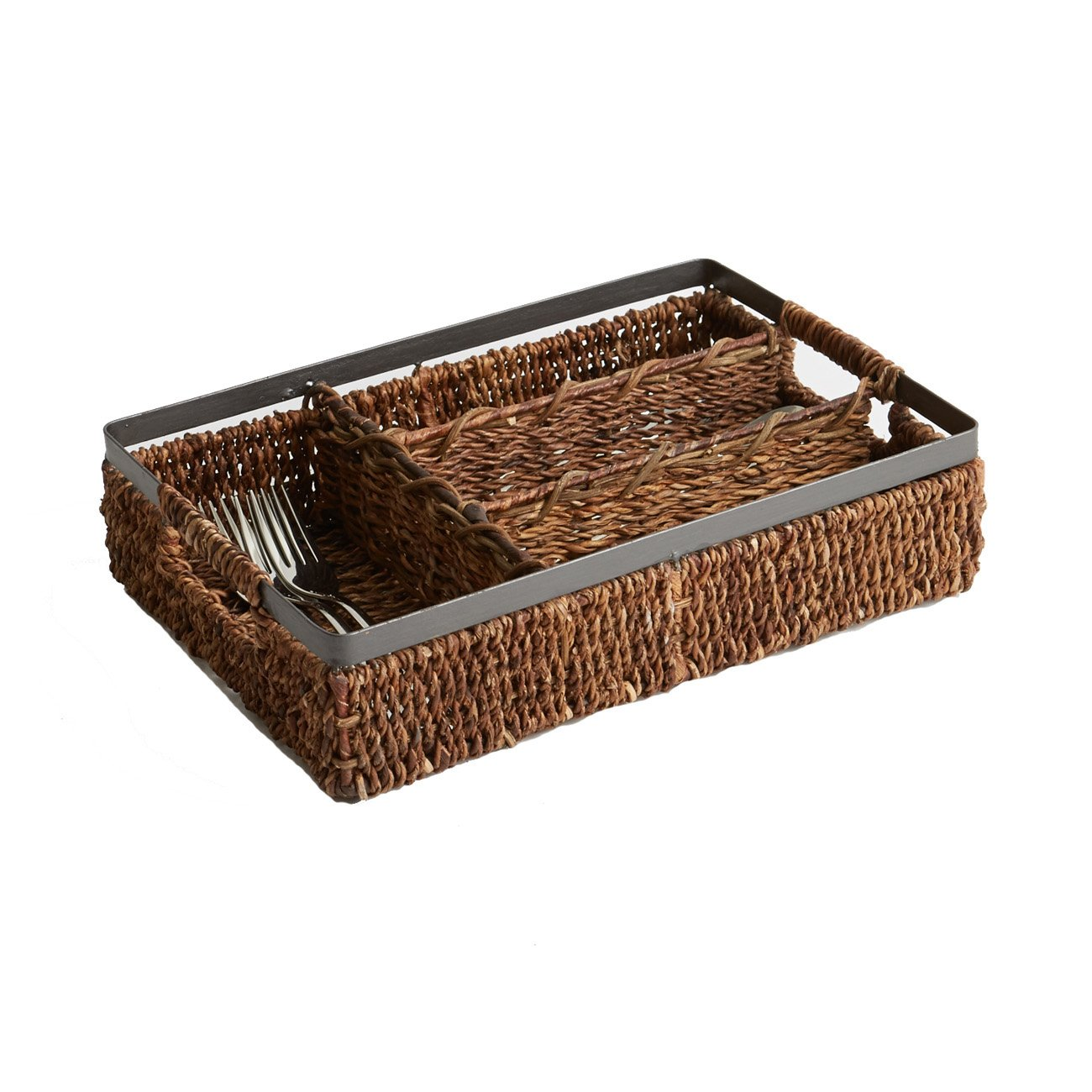 Woodard & Charles Abaca with Metal Trim Flatware Caddy, 13-1/2-Inch Woodard and Charles YB2060