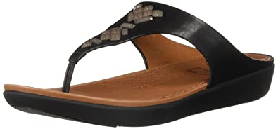 e24f6df8bbbf25 FitFlop Women s Banda Leather Toe-Thong Sandals-Crystal Slide