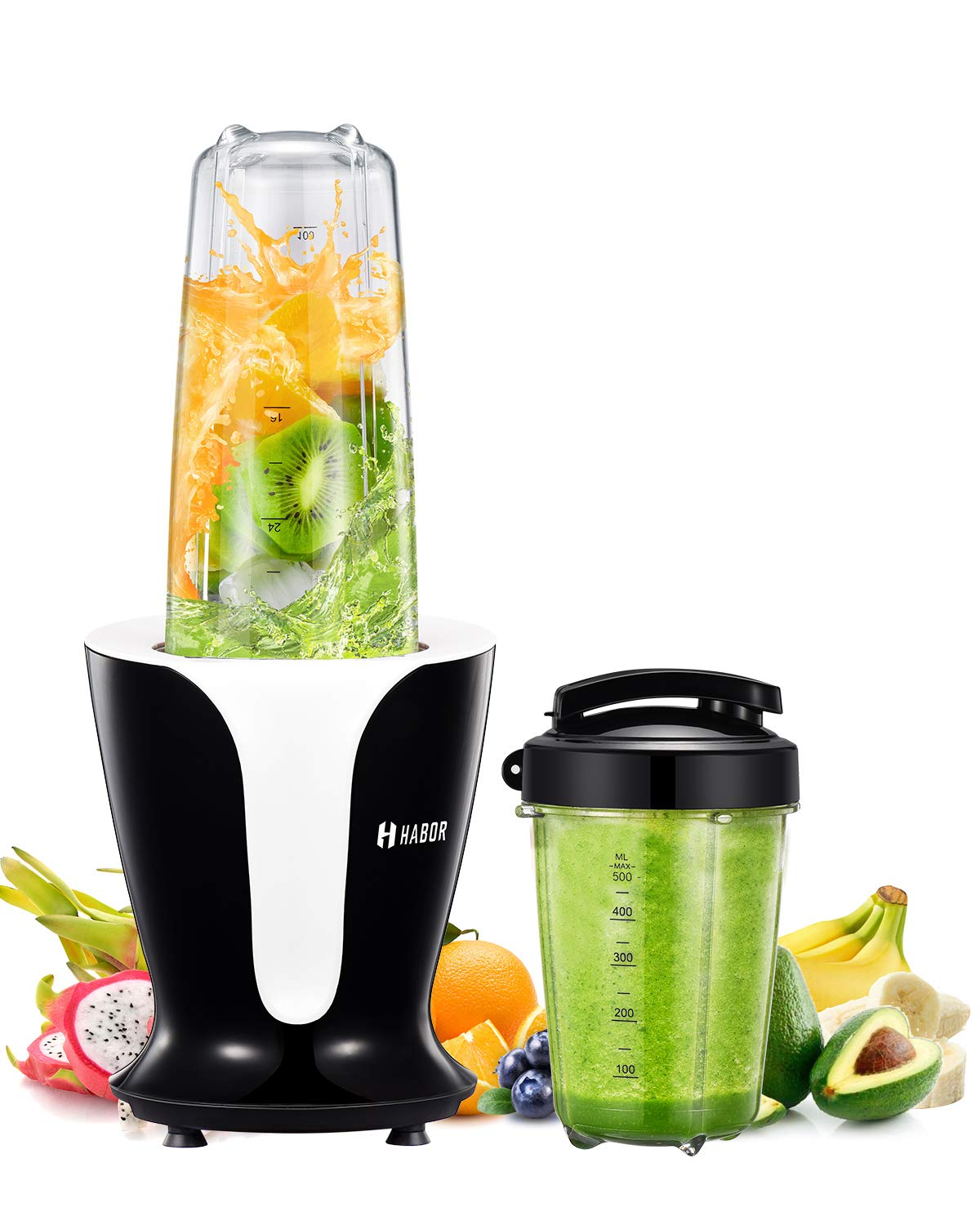 Habor Smoothie Blender, Shakes Blender with 900 Watt and 18000 RPM High Speed Quite Motor, BPA Free Smoothie Mixer with 2 Large Tritan Travel Cups 32oz/18oz, Portable Personal Blender for Home/Kitchen HBCP146ABUS