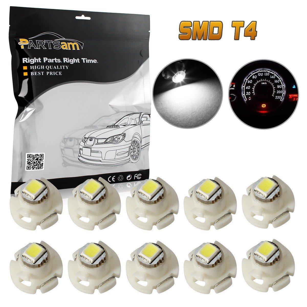 Partsam 10pcs T4 Neo Wedge White HVAC Climate Controls Cluster Dash Ligth LED Bulb 10mm 12V