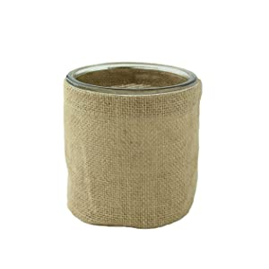 """Syndicate Sales Round Burlap Container with Glass, 4"""""""