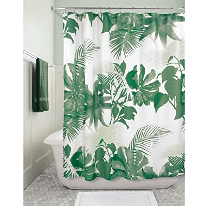 InterDesign Watercolor Fern Fabric Shower Curtain