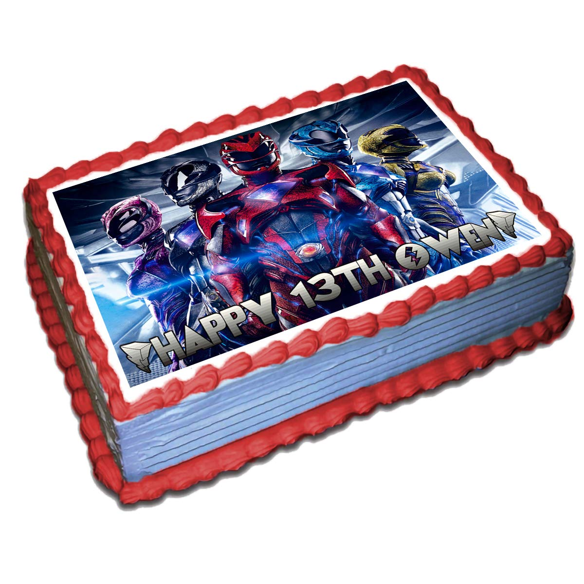 Astonishing Power Rangers Personalized Cake Toppers Icing Sugar Paper 1 4 8 5 Funny Birthday Cards Online Inifodamsfinfo