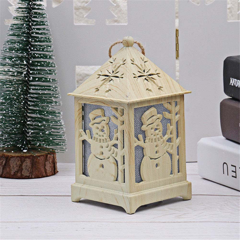 Battery Operated Wooden Santa Clause Night Lamp Decorative Light Lamp Christmas Decoration Party Room Ornament Wuudi