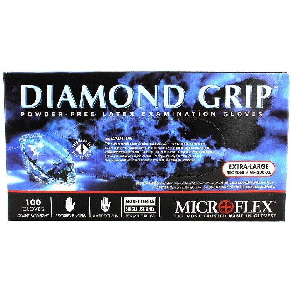 Microflex MF-300-XL PK High Five Products Inc, Micro Flex Diamond Grip Latex Gloves, XL, 100/Pack , 3.5'' Height, 5'' width, 9.25'' Length (Pack of 100)