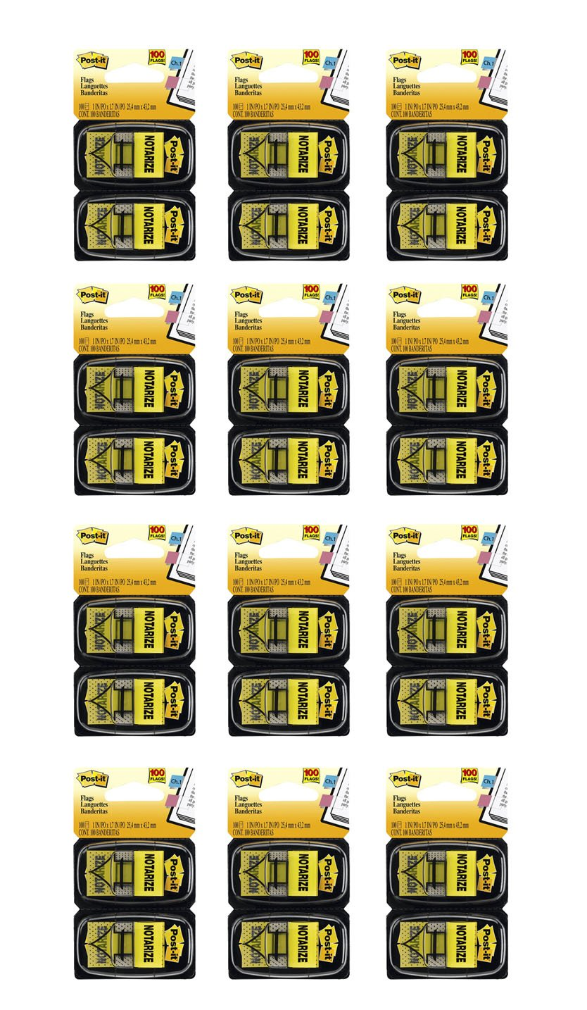 Post-it Mssge Flags, ''Notarize'', Yellow, 1'' , 2 Dispensers/Pk, 12 Pack (680-NZ2)